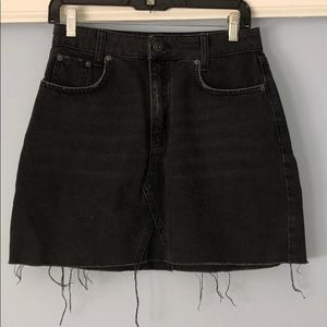 Urban Outfitters Distressed Black Jean Skirt